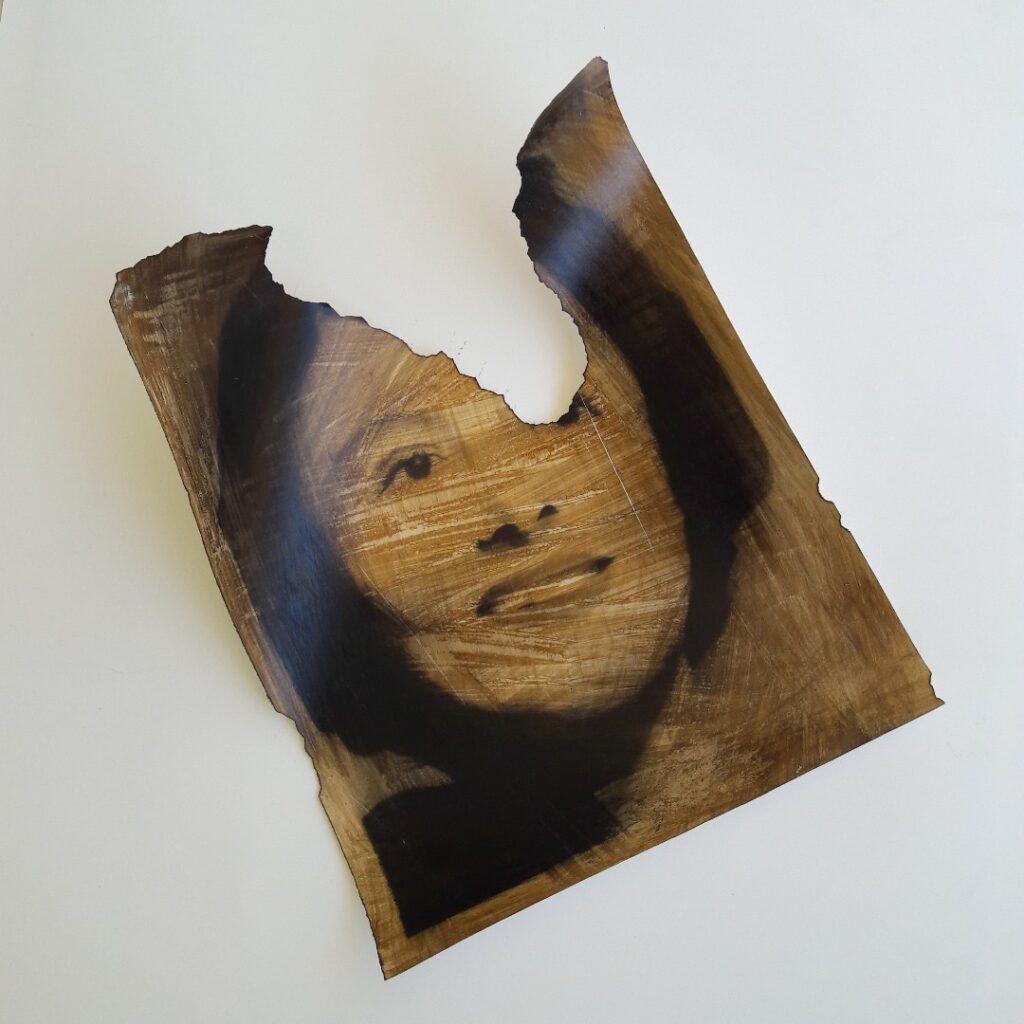La Diva, charcoal (ritratto di Rossana Podestà), pastel, ink and fire on paper, 2020